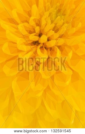 Low poly illustration Close up of yellow abstract flower petals