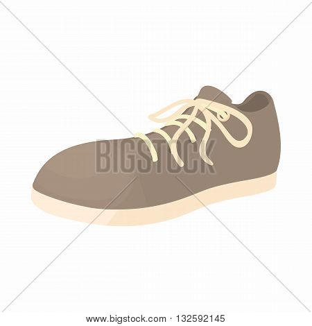 Male gray shoe with white sole icon in cartoon style on a white background