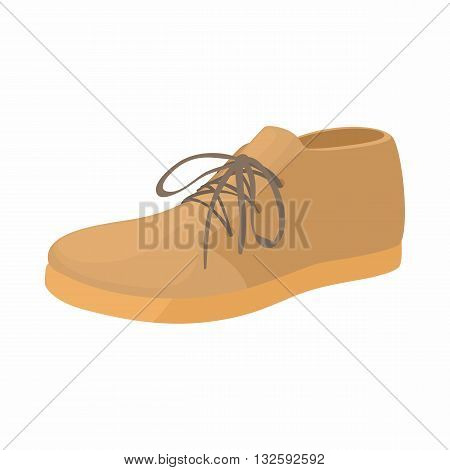 Brown boot icon in cartoon style on a white background