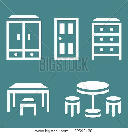 Vector furniture icon, door, chair, table, dresser