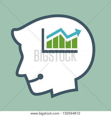 Vector stock of human head silhouette with sales chart inside