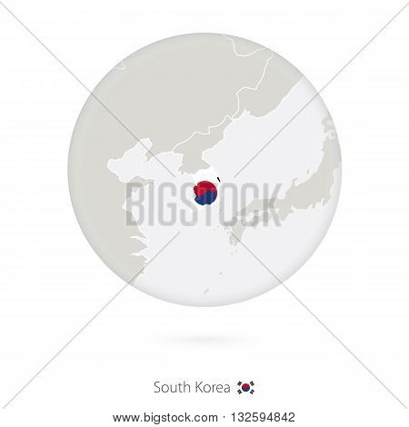 Map Of South Korea And National Flag In A Circle.
