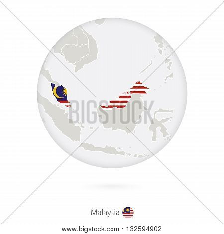 Map Of Malaysia And National Flag In A Circle.