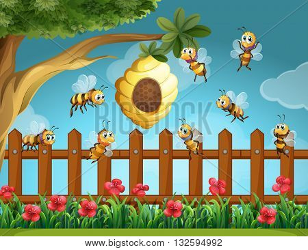 Bees flying around beehive in the garden illustration