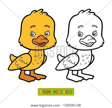 Coloring book for children coloring page with little duck