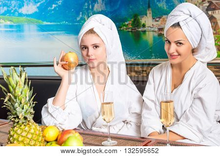Girl In A Bathrobe After A Spa, Drink Champagne