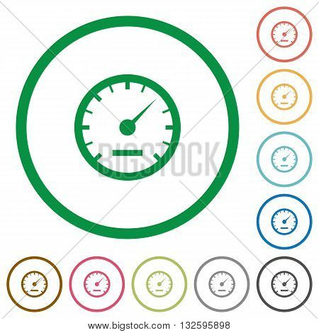 Set of speedometer color round outlined flat icons on white background