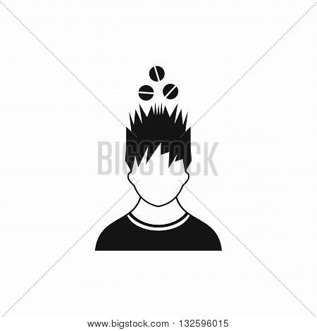 Man with tablets over head icon in simple style isolated on white background