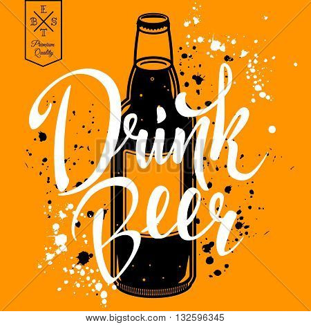 Drink beer. Retro vector illustration with bottle of beer with lettering and splashes. Can be used for restaurant menu. EPS 10