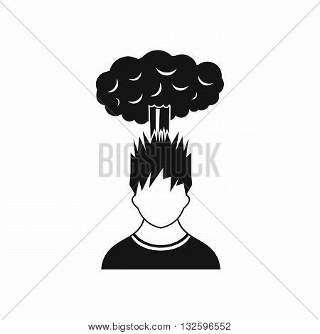 Man with red cloud over head icon in simple style isolated on white background