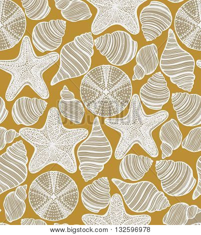 vector seamless hand-drawn background wit shells starfishes and urchins