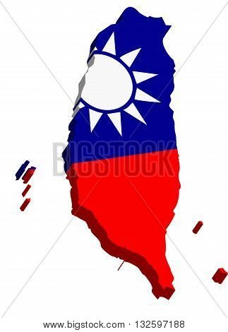 A map of Taiwan 3D on white background