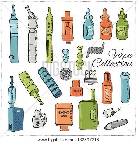 Set of Vaping icons in sketch style on black background. Vape vector illustration. Vape trend. Illustration of Electronic cigarette. E-cig icons set