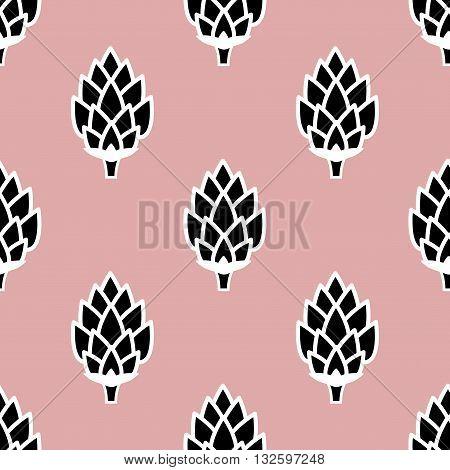 Seamless pattern with hops. Cartoon vector wallpaper