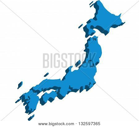 A map of Japan 3D on white background