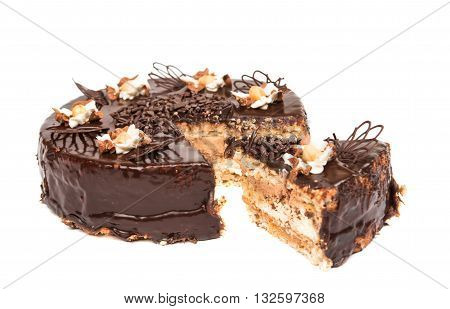 dessert chocolate cake isolated on white background