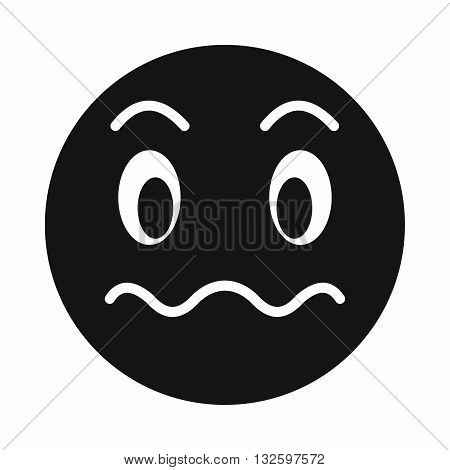 Suspicious emoticon icon in simple style isolated on white background