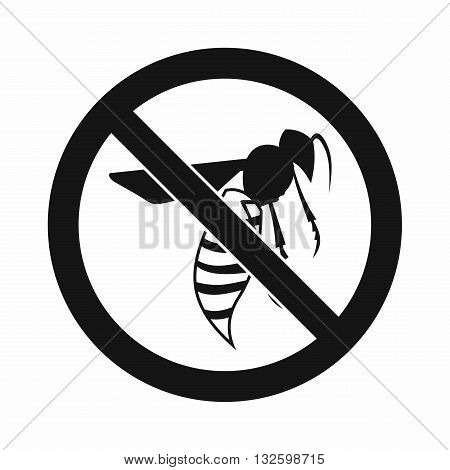 No wasp sign icon in simple style isolated on white background