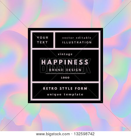Retro logo in frame on holographic background. Retro label package template. Romantic minimal logo in frame on geometric layout. Retro package template. Trend layout, art print.