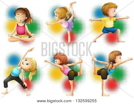 Children doing yoga and stretching illustration