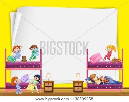 Paper design with kids in bedroom illustration