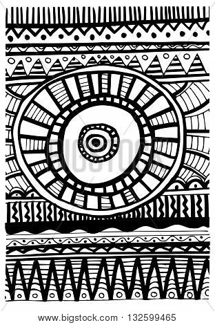 Tribal hand drawn abstract pattern,  vector illustration