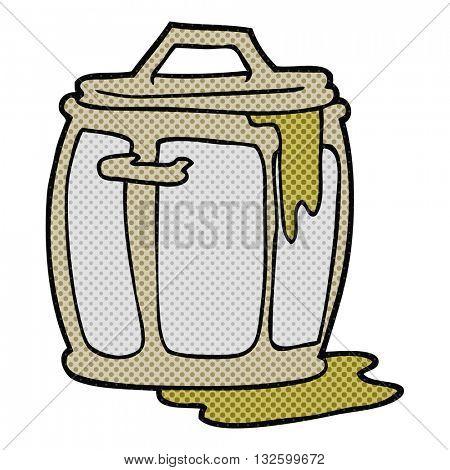freehand drawn cartoon dirty garbage can