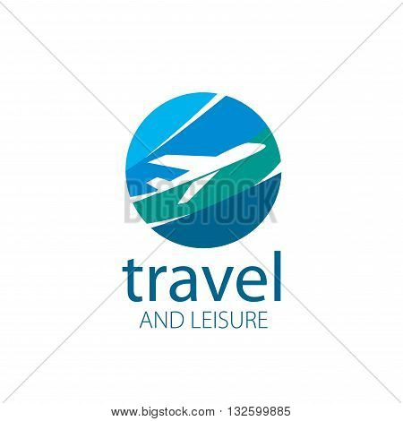 Vector logo template plane flight. Illustration journey