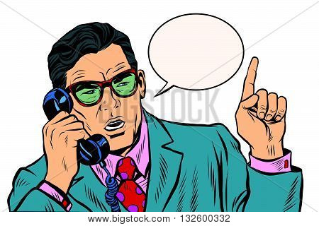 Business boss talking on the phone pop art retro vector. The business negotiations. Telephone support.