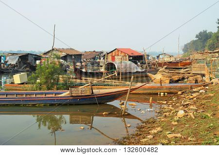 floating village on the riverside of Mekong river