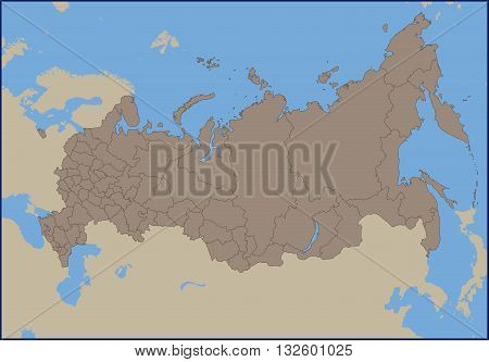 Illustration of a Empty Political Map of Russia
