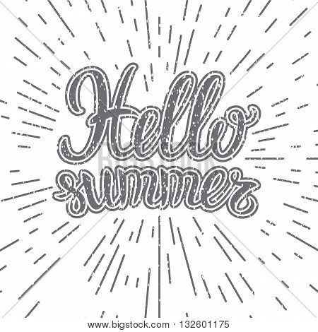 Vector hand lettering typography poster Hello summer on blurred background. Handwritten summer lettering. Summer banner. Hello summer calligraphy . Summer fun quote. Hello summer card. Summer placard.
