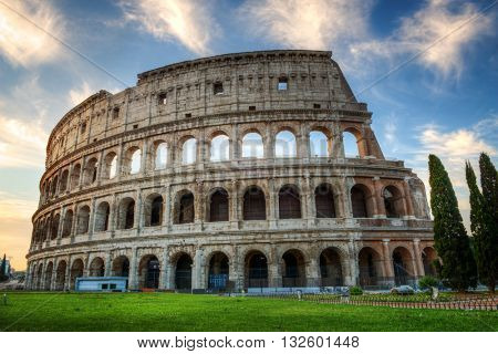 Colosseum at Sunrise with Blue Sky, Rome, Italy