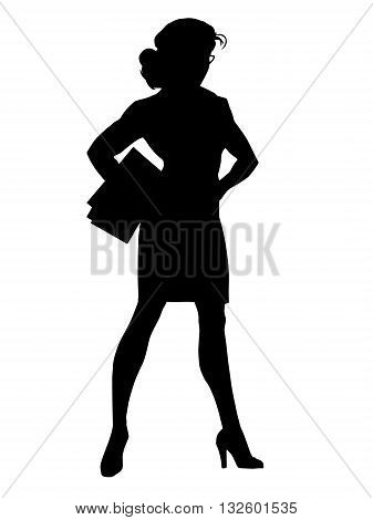 Beautiful strong businesswoman pop art retro vector. Woman vamp. Black silhouette. Conceptual business vector. Figure form icon.