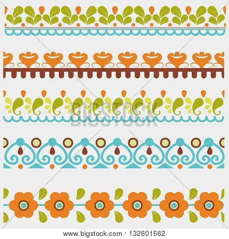 Set of five floral and geometric colored seamless borders