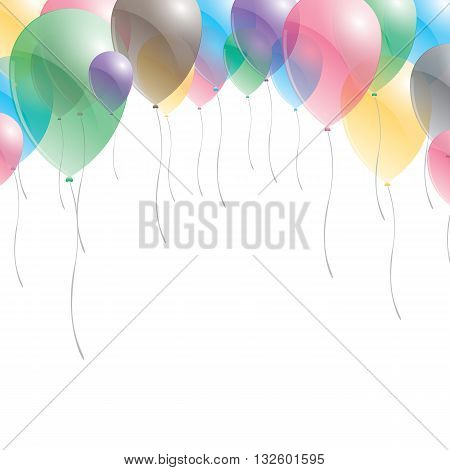 Balloons background. Balloons on sky background. Multicolored balloons.