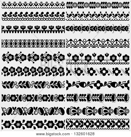 Set of twenty different floral and geometric borders