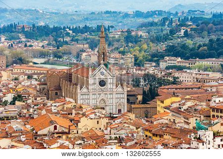 Cityscape of Florence with Basilica of Santa Croce from the campanile. Florence Tuscany Italy