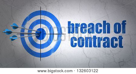 Success law concept: arrows hitting the center of target, Blue Breach Of Contract on wall background, 3D rendering