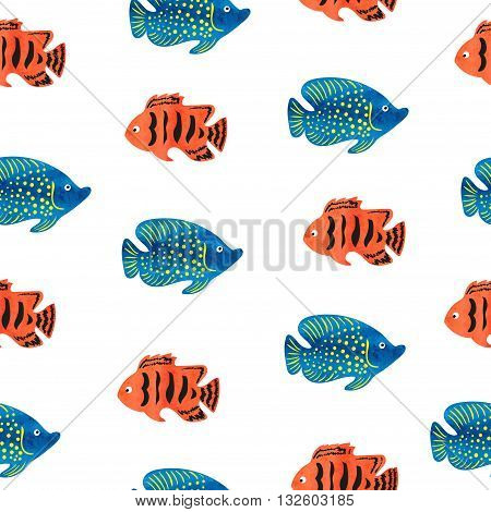 Watercolor tropical fish seamless pattern. Vector background with marine fish. Watercolor texture. Can be used as wallpaper, background, banner, wrapping, web design.