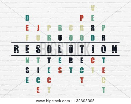Law concept: Painted black word Resolution in solving Crossword Puzzle