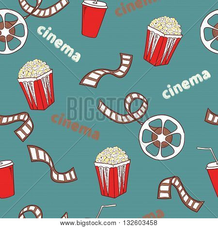 Cinema seamless pattern. Bright cinema symbols - popcorn, film reel and strip - isolated on blue. Vector background.