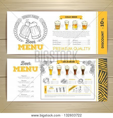 Vector illustration of Beer bar menu design.