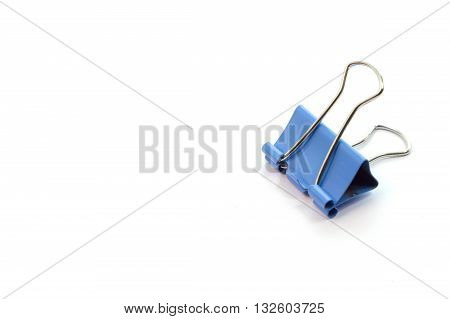 Blue Binder Clip, Paperclip On White Background,with Copy Space For Text, Selective Focus Of Blue Bi