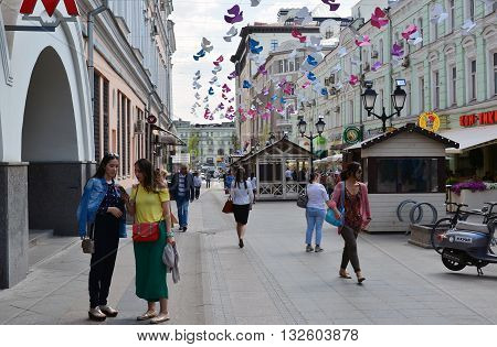 Moscow, Russia - June 2, 2016. Rozhdestvenka Street near the Metro Kuznetsky Most