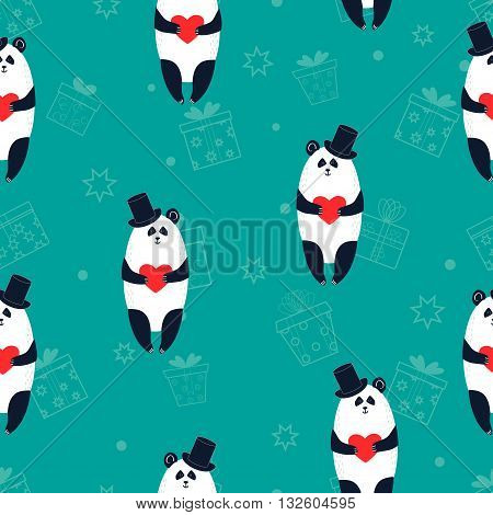 Seamless pattern with cute panda bears holding hearts. Vector background.