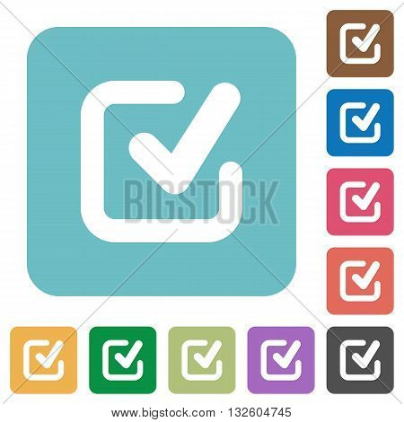 Flat checkmark icons on rounded square color backgrounds.