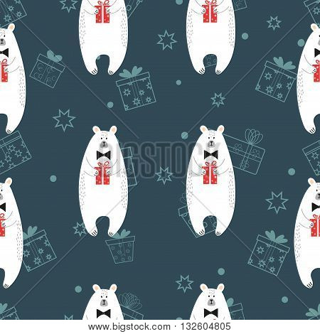 Seamless pattern with cute cartoon polar bears holding gifts. Vector background suitable for wallpaper, wrapping, textile, web design.