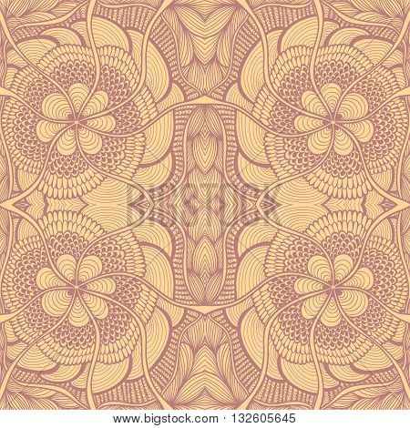 Seamless pattern in  Zen-doodle or  Zen-tangle  style in beige lilac brown for wallpaper or for decorate package clothes  or different things