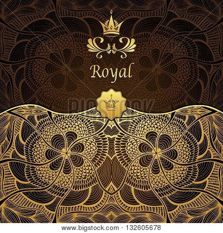 Royal template background with crown and Zen-tangle seamless pattern in gold brown  colors for decorate package or for advertising different things